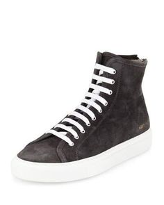 X3A26 Common Projects Tournament Suede High-Top Sneaker, Dark Gray