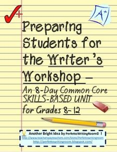 Welcome to Complete Writers Workshop Grades 6 - 8 - 10 -12. An 8-Day Common Core Unit This packet is a perfect introduction for the Writers Workshop that established proper habits, encourages critical thinking, and prepares students for an important activity that will occur throughout classes in high school and college.What You Receive: 8-Day Unit Plan with Common Core Anchor Standards Teacher and Student Instructions Three Activities of increasing difficulty for correct critiquing ...