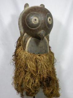 LUBA,Zoomorphic,Kifwebe,OWL,Mask D.R.Congo