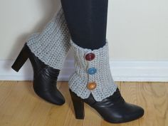 Spats Grey Boot Cuffs Crochet Ankle Warmers Unique by sailorgina, $45.00