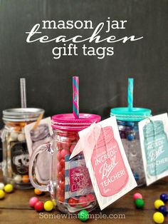 Mason Jar Teacher Gift Tags Grab your free printable gift tags and show those teachers just how much you appreciate them with these darling mason jar gifts. Teacher Gift Tags, Teacher Christmas Gifts, Teacher Appreciation Gifts, Diy Christmas, Handmade Christmas, Mason Jars, Mason Jar Gifts, Gift Jars, Diy Spring