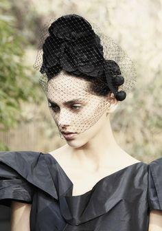 Camelia Beehive by Jennifer Behr :: handmade silk flowers :: bridal :: wedding :: bride :: headpiece :: headband :: updo :: veil ::
