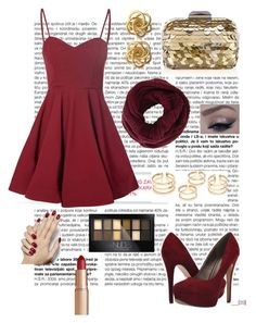 """Christmas Burgundy"" by jessicawednesday ❤ liked on Polyvore featuring Glamorous, Michael Antonio, Jimmy Choo, BCBGMAXAZRIA, Charlotte Tilbury and Maybelline"