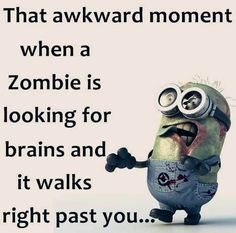 Funny Minion Quote About Zombie vs. Brains - Funny Minion Quote About Zombie vs. Funny Minion Pictures, Funny Minion Memes, Minions Quotes, Funny Relatable Memes, Funny Jokes, Minion Humor, Fun Funny, Funny Images, Silly Pictures