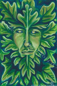 Greenman by Joyleen Steinen  The interpretation of the Green Man is that of a pagan nature spirit, a symbol of man's reliance on and union with nature, a symbol of the underlying life-force, and of the renewed cycle of growth each spring. In this respect, it seems likely that he has evolved from older nature deities such as the Celtic Cernunnos and the Greek Pan.