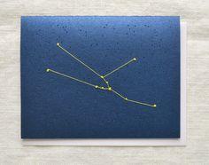 Taurus Constellation Embroidery - Zodiac Card on Etsy, $6.75