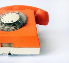 orange rotary phone=o