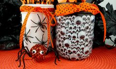 Spooky Halloween Mason Jars - a fun Halloween craft made out of Mason Jars, plastic spiders and Googly Monster Eyes. They kids will love this one!