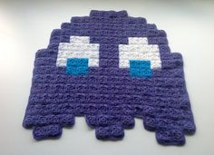 PacMan Purple Ghost 8bit Crochet Blanket by AtomicBits on Etsy, $45.00