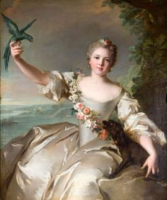 """Mathilde de Canisy"", 1738, by Jean-Marc Nattier (French, 1685-1766), portraitist for Louis XV and his family. ""Pretty, gracious, vivacious and still rather young"" was how this portrait of Mathilde de Canisy, only just turned 14, was described."