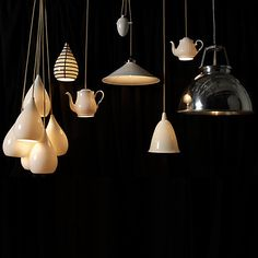 Teapot ceiling lights, use individually or in a cluster