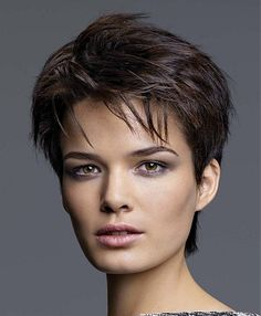 A short brown straight choppy spikey chestnut hold hairstyle by Jean-Marc Maniatis