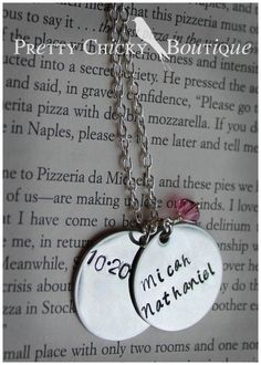 Great Mother's necklace!! Have your necklace personalized with your child's/children's names, birthstones and charms at the Pretty Chicky Boutique! #metal Stamped jewelry http://www.facebook.com/PrettyChickyBoutique