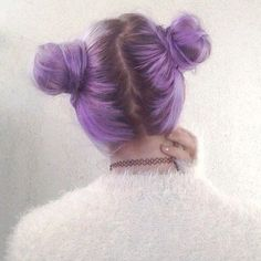Two Buns Soft Grunge Hair Purple Hairstyle - http://ninjacosmico.com/32-pastel-hairstyles-ideas/