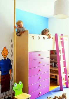 Hide away all the mess in the bedroom using a loft bed with storage cabinets - Decoist