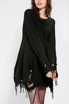 UNIF Come Down Torn-Hem Sweater DressWANT WANT WANT WANT WANT (in white)