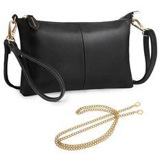 Black clutch wristlet Crossbody Bags For Travel, Travel Purse, Travel Bags, Lambskin Leather, Leather Wallet, Small Shoulder Bag, Shoulder Strap, Black Clutch, Clutch Wallet