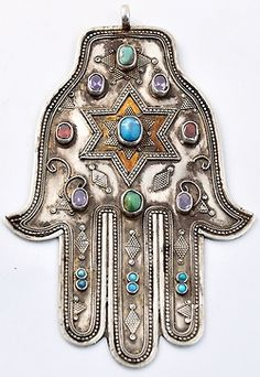 bohemian silver Hand of Shiva gemstone pendant