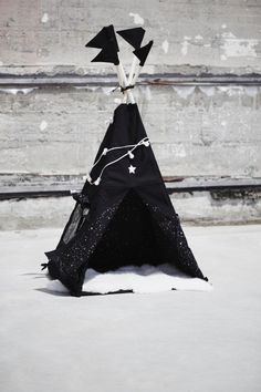 Tipi of the night / black cotton and stars glow in by lafeeraille, $240.00