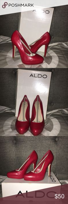 Red Aldo Heels Well loved and kept in box. Worm only one day for an outdoor event. Extra heel tips included.  Size: 5 Color: Red Style: Platform Stiletto  Brand: Aldo Aldo Shoes Heels