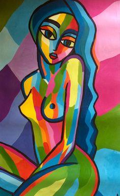 """""""BLUE GIRL""""TABLEAU ART MODERNE ABSTRAIT PEINTURE ACRYLIQUE SUR TOILE 60X 105 CM ENCADRE SUR CHASSIS BOIS"""