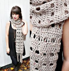 a different look...BEIGE CROCHET SCARF