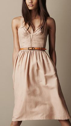Burberry Brit, Ruched Bodice Silk Blend Dress.
