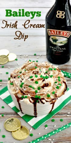 Creamy and boozy cheese cake dip recipe featuring Baileys Irish Cream. Easy and festive dessert for your St. Patrick's Day party.