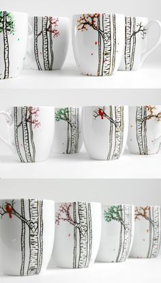 Four Seasons Birch Tree Collection - 4 Large Personalized Mugs depicting The Four Seasons, Wedding Gift, Personalized Wedding Gifts I want these with the personalized initials carved in the tree! The Four Seasons Birch Tree Collection 4 by MaryElizabet.