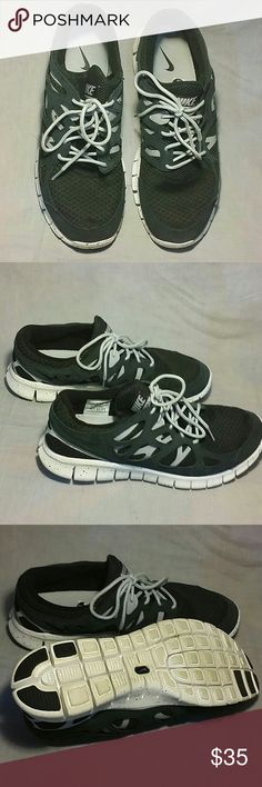 Men's NIKE FREE RUN 2 Shoes 13 M Running Men's Nike Free Run 2 shoes size 13 M Running lace up leather fabric Black/Gray item is in very good condition. Nike Shoes Sneakers