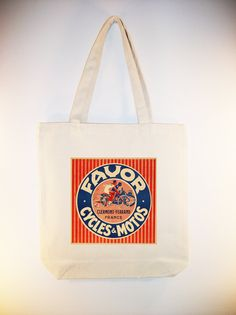 I just listed Vintage Favor Cycles French Poster 15x15 Canvas Tote with Shoulder Strap - larger zip top style available also on The CraftStar @TheCraftStar #uniquegifts
