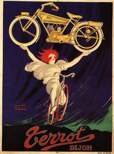 Terrot Dijon poster by Robert Gazay France - Beautiful Vintage Poster Reproductions. French transportation poster features a woman on a bicycle with red hair holding up a yellow motorcycle. Bike Poster, Motorcycle Posters, Motorcycle Art, Vintage Advertisements, Vintage Ads, Vintage Posters, Vintage Stuff, Old School Art, Illustration Photo