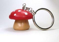 Red Mushroom Key Chain Polymer Clay Mushroom by TheTinyBee on Etsy, $10.00