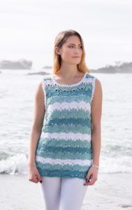 Annie's Signature Designs announces Spring Breeze Collection, 20+ knit and crochet patterns for the modern yarn crafter. This is an exclusive pattern collection of 20+ knit and crochet designs coming out on February 10, 2017. Wisteria in white and teals is made with Sinfonia
