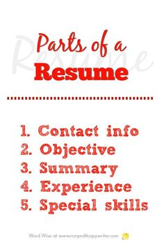 5 parts of a resume with Word Wise at Nonprofit Copywriter Resume Writing Format, Resume Writing Tips, Resume Objective, Writing Resources, Resume Outline, Resume References, Letter Template Word, Easy Writing, School Info