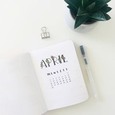 Bullet journal monthly cover page, April cover page, flowered font. | @nobujournal