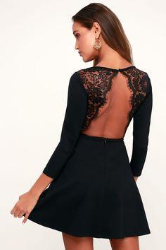 43d8eefb6f28 Felicity Black Backless Lace Skater Dress