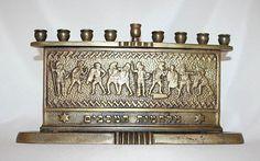 Vintage Bronze Judaica Hanukkah Menorah Israel 1960C | eBay