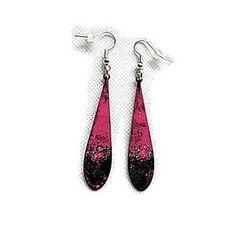 Boucles oreilles  gouttes émail noir, rose, paillettes argent , oreilles percées