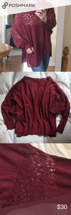 "Free People Sweater Rare!  Free People lightweight burgundy oversized sweater with beautiful lace crochet details around neck and arms.  Boat neck, can be worn slouchy and off the shoulder.  This is gorgeous and will carry you well into the Spring because it's so light.  Very good condition, no visible flaws.  Size is S but could fit M or L and still be oversized (I wear M so you can see from pics:-).  Measurements lying flat: Pit to pit 30"" Length approx 25"" Free People Sweaters Crew…"