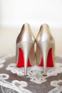 Classic Louboutins for a Classic Bride | See the wedding on SMP:  http://www.StyleMePretty.com/australia-weddings/western-australia-au/perth/2014/01/31/classic-spring-wedding-at-pan-pacific-perth/ DeRay & Simcoe Photography