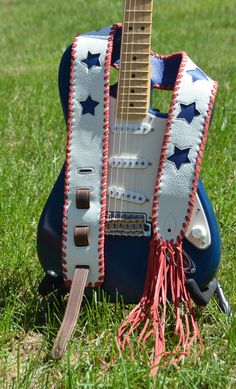 Leather Guitar Strap - Red, White and Blue Sweet Instrument Strap - Patriotic…