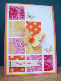 handmade card ... bright patterned papers punched into squares ... use those scraps!!!