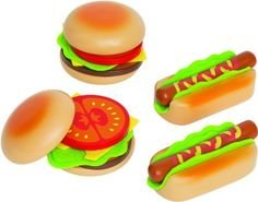 Hamburgers & Hot Dogs Play Food Set by HAPE International. $9.95. Top those burgers with the works, nest the hot dogs inside their buns. Kids can't keep their hands off our incredibly well-made barbeque play food set...and that's the whole idea! Made of smooth, sturdy maple wood, with ingenious felt relish and fixin's. 18 pieces. Wonderful quality; much nicer and more durable than plastic and cardboard play food. For ages 3 and up. This Educo kitchen toy is made b...