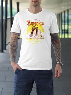 Welcome to America Mens Short Sleeve Graphic Tee