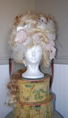Blond Victorian rococo huge skull Wig after halloween sale