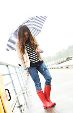 how to wear hunter rain boots.  red hunter boots.  rainy day outfit.