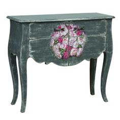 Handmade pine wood console table with hand-painted floral detail.