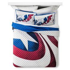 Captain America Blue Shield Quilt Set Full/Queen - Blue&Red - 3 Piece - Marvel