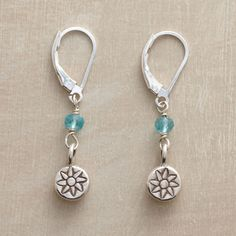 """SUMMER DAY EARRINGS--Rondelles cut of apatite stand in for the summer sky above sterling silver button disks stamped with garden blooms. Handcrafted in USA with lever backs. Exclusive. 1-1/2""""L."""